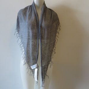 NWT WOMENS POETRY 100% LINEN GRAY SCARF*